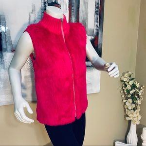 F.L.A.G. 100% Pure Rabbit Fur Hot Pink Zipper Vest